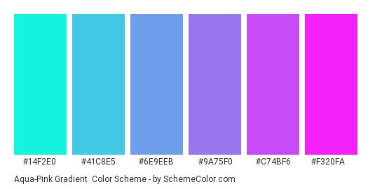 Aqua-Pink Gradient - Color scheme palette thumbnail - #14f2e0 #41c8e5 #6e9eeb #9a75f0 #c74bf6 #f320fa