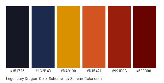 Legendary Dragon - Color scheme palette thumbnail - #151725 #1c2b4d #da9100 #d15421 #991e0b #680300