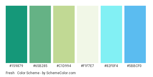 Fresh & New - Color scheme palette thumbnail - #159879 #65b285 #c1d994 #f1f7e7 #82f0f4 #5bbcf0