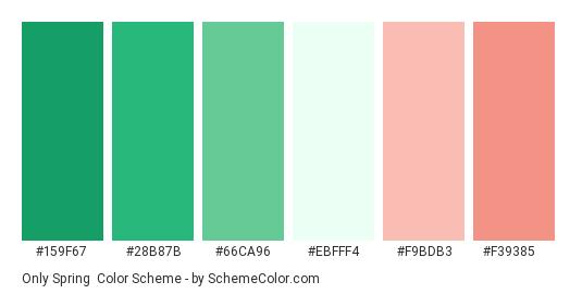 Only Spring - Color scheme palette thumbnail - #159f67 #28b87b #66ca96 #ebfff4 #f9bdb3 #f39385