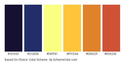 Based on Choice - Color scheme palette thumbnail - #161032 #212E68 #FAFF81 #FFC53A #E08229 #D05236