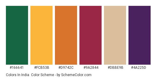Colors in India - Color scheme palette thumbnail - #166641 #fcb53b #d9742c #9a2844 #dbbe9b #4a225d