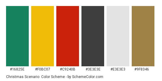 Christmas Scenario - Color scheme palette thumbnail - #16825e #f0bc07 #c9240b #3e3e3e #e3e3e3 #9f8346