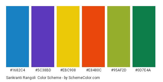 Sankranti Rangoli - Color scheme palette thumbnail - #1682C4 #5C38BD #EBC908 #E8480C #95AF2D #0D7E4A