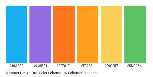Summer Hot as Fire - Color scheme palette thumbnail - #16aeef #946be1 #ff781e #ff9f21 #f9cf57 #5dc264