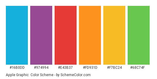 Apple Graphic - Color scheme palette thumbnail - #16b0dd #974994 #e43b37 #fd931d #f7bc24 #68c74f