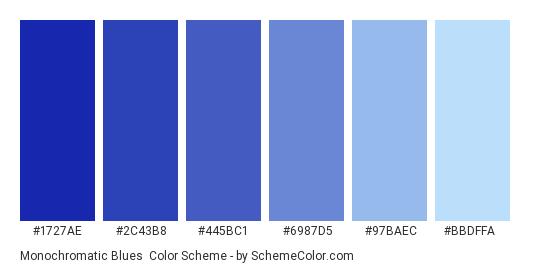 Monochromatic Blues - Color scheme palette thumbnail - #1727ae #2c43b8 #445bc1 #6987d5 #97baec #bbdffa