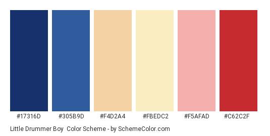 Little Drummer Boy - Color scheme palette thumbnail - #17316d #305b9d #f4d2a4 #fbedc2 #f5afad #c62c2f