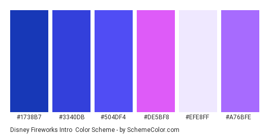 Disney Fireworks Intro - Color scheme palette thumbnail - #1738b7 #3340db #504df4 #de5bf8 #efe8ff #a76bfe