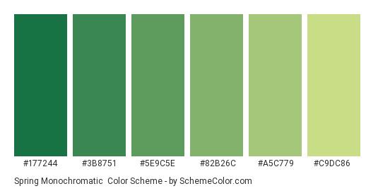 Spring Monochromatic - Color scheme palette thumbnail - #177244 #3B8751 #5E9C5E #82B26C #A5C779 #C9DC86