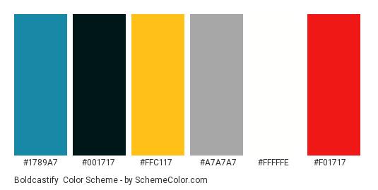 Boldcastify - Color scheme palette thumbnail - #1789a7 #001717 #ffc117 #a7a7a7 #fffffe #F01717
