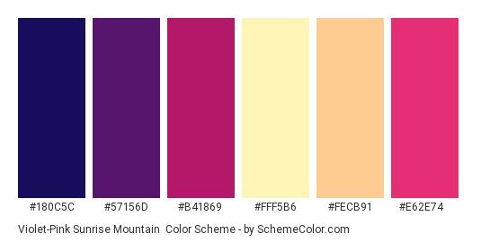 Violet-Pink Sunrise Mountain - Color scheme palette thumbnail - #180c5c #57156d #b41869 #fff5b6 #fecb91 #e62e74
