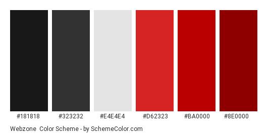 Webzone - Color scheme palette thumbnail - #181818 #323232 #e4e4e4 #d62323 #ba0000 #8e0000