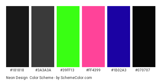 Neon Design - Color scheme palette thumbnail - #181818 #3a3a3a #39ff13 #ff4399 #1b02a3 #070707