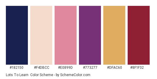 Lots to Learn - Color scheme palette thumbnail - #182150 #f4dbcc #e0899d #773277 #dfac60 #8f1f32