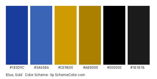 Blue, Gold & Black - Color scheme palette thumbnail - #183d9c #3a65b6 #ce9b00 #ab8000 #000000 #1b1b1b