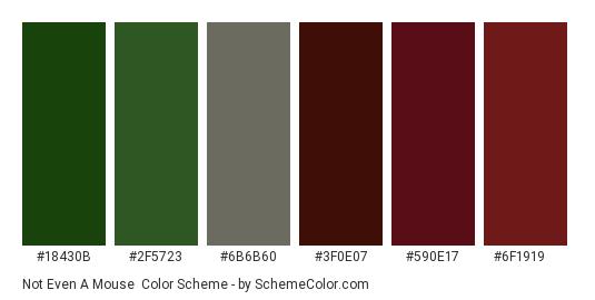 Not Even a Mouse - Color scheme palette thumbnail - #18430b #2f5723 #6b6b60 #3f0e07 #590e17 #6f1919