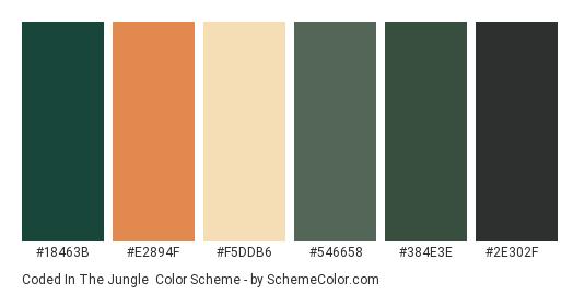 Coded in the Jungle - Color scheme palette thumbnail - #18463b #e2894f #f5ddb6 #546658 #384e3e #2e302f