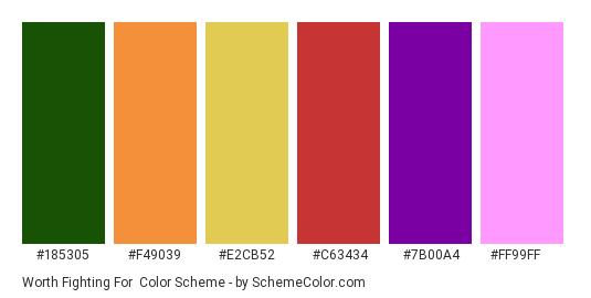 Worth Fighting For - Color scheme palette thumbnail - #185305 #F49039 #E2CB52 #C63434 #7B00A4 #FF99FF