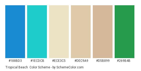 Tropical Beach - Color scheme palette thumbnail - #188bd3 #1ecdcb #ece3c5 #dec9a9 #d5b899 #269b4b