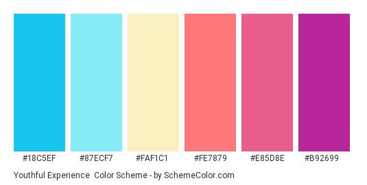 Youthful Experience - Color scheme palette thumbnail - #18c5ef #87ecf7 #faf1c1 #fe7879 #e85d8e #b92699