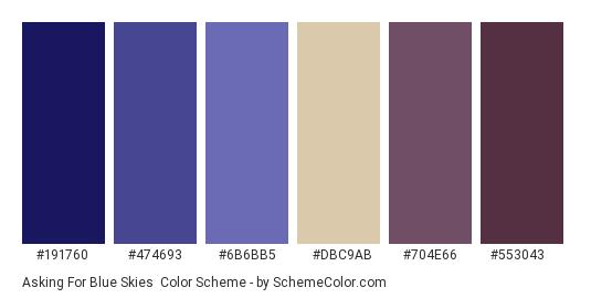 Asking for Blue Skies - Color scheme palette thumbnail - #191760 #474693 #6b6bb5 #dbc9ab #704e66 #553043