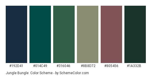 Jungle Bungle - Color scheme palette thumbnail - #192d41 #014c49 #316046 #8b8d72 #805456 #1a332b