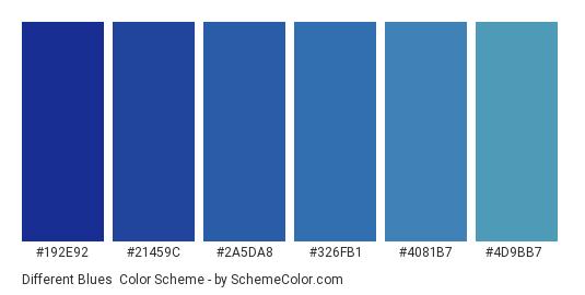 Different Blues - Color scheme palette thumbnail - #192e92 #21459c #2a5da8 #326fb1 #4081b7 #4d9bb7