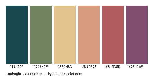 Hindsight - Color scheme palette thumbnail - #194950 #70845F #E3C48D #d99b7e #b15d5d #7f4d6e