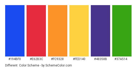 Different - Color scheme palette thumbnail - #194bf0 #e62b3c #fc9328 #fed140 #48358b #37a514