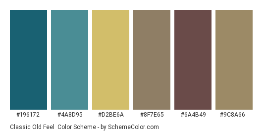 Classic Old Feel - Color scheme palette thumbnail - #196172 #4a8d95 #d2be6a #8f7e65 #6a4b49 #9c8a66