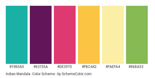 Indian Mandala - Color scheme palette thumbnail - #19b0a5 #63155a #de3970 #fbc442 #faefa4 #86ba53