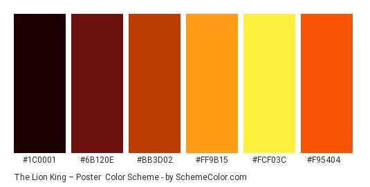 The Lion King – Poster - Color scheme palette thumbnail - #1C0001 #6B120E #BB3D02 #FF9B15 #FCF03C #F95404