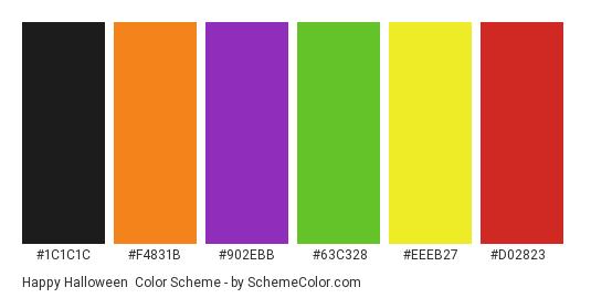 Happy Halloween - Color scheme palette thumbnail - #1C1C1C #F4831B #902EBB #63C328 #EEEB27 #D02823