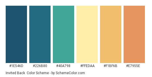 Invited Back - Color scheme palette thumbnail - #1E546D #226B80 #40A798 #FFEDAA #F1BF6B #E7955E