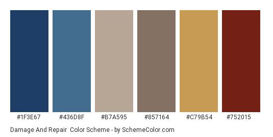 Damage and Repair - Color scheme palette thumbnail - #1F3E67 #436D8F #B7A595 #857164 #C79B54 #752015