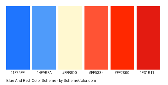 Blue and Red - Color scheme palette thumbnail - #1F75FE #4F9BFA #FFF8D0 #FF5334 #FF2800 #E31B11