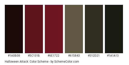 Halloween Attack - Color scheme palette thumbnail - #1a0b08 #5c131b #6e1722 #615843 #312d21 #1a1a13