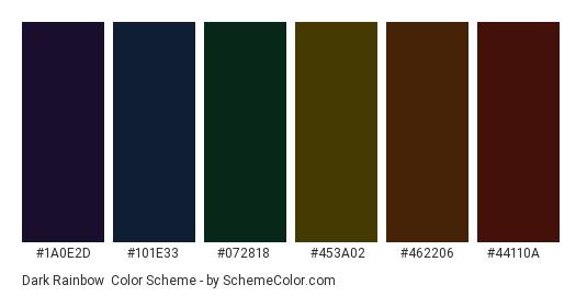 Dark Rainbow - Color scheme palette thumbnail - #1a0e2d #101e33 #072818 #453a02 #462206 #44110a
