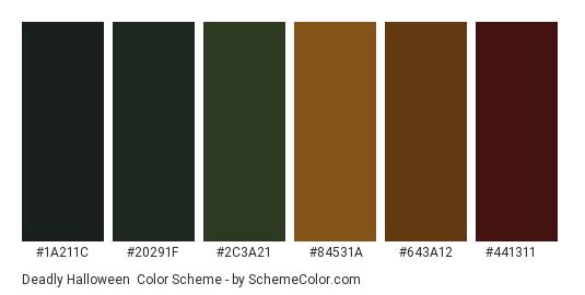 Deadly Halloween - Color scheme palette thumbnail - #1a211c #20291f #2c3a21 #84531a #643a12 #441311