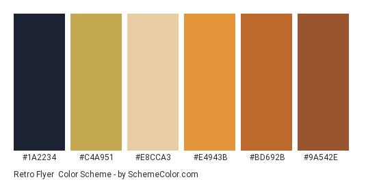 Retro Flyer - Color scheme palette thumbnail - #1a2234 #c4a951 #e8cca3 #e4943b #bd692b #9a542e