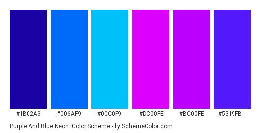 Purple and Blue Neon - Color scheme palette thumbnail - #1b02a3 #006af9 #00c0f9 #dc00fe #bc00fe #5319fb