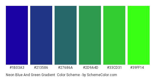 Neon Blue and Green Gradient - Color scheme palette thumbnail - #1b03a3 #213586 #27686a #2d9a4d #33cd31 #39ff14