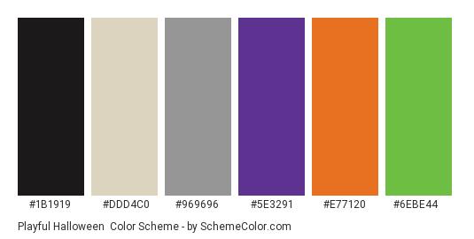 Playful Halloween - Color scheme palette thumbnail - #1b1919 #ddd4c0 #969696 #5e3291 #e77120 #6ebe44