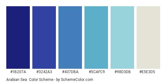 Arabian Sea - Color scheme palette thumbnail - #1b207a #3242a3 #437dba #5cafc9 #98d3db #e5e3d5
