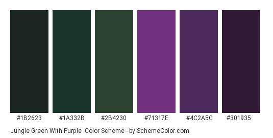 Jungle Green with Purple - Color scheme palette thumbnail - #1b2623 #1a332b #2b4230 #71317e #4c2a5c #301935
