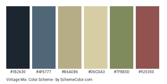 Vintage Mix - Color scheme palette thumbnail - #1b2630 #4f6777 #b6ad86 #d6cda3 #7f8b5d #925350