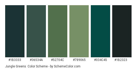 Jungle Greens - Color scheme palette thumbnail - #1b3333 #36534a #52704c #789065 #034c45 #1b2323
