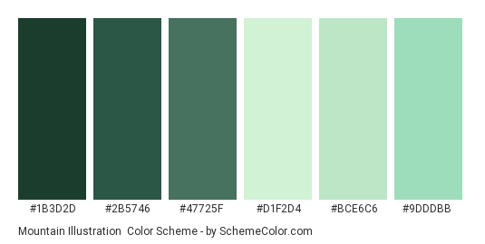 Mountain Illustration - Color scheme palette thumbnail - #1b3d2d #2b5746 #47725f #d1f2d4 #bce6c6 #9dddbb