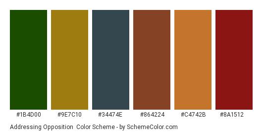Addressing Opposition - Color scheme palette thumbnail - #1b4d00 #9e7c10 #34474e #864224 #c4742b #8a1512